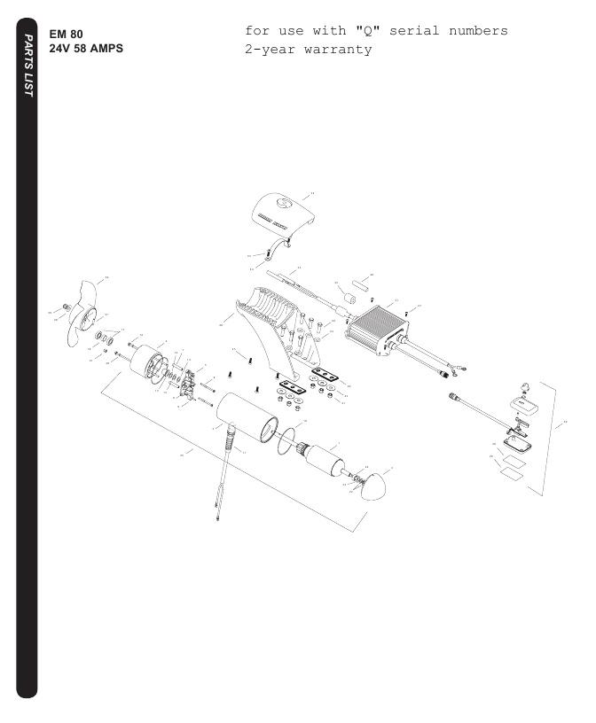 Minn Kota EM 80 Parts - 2016