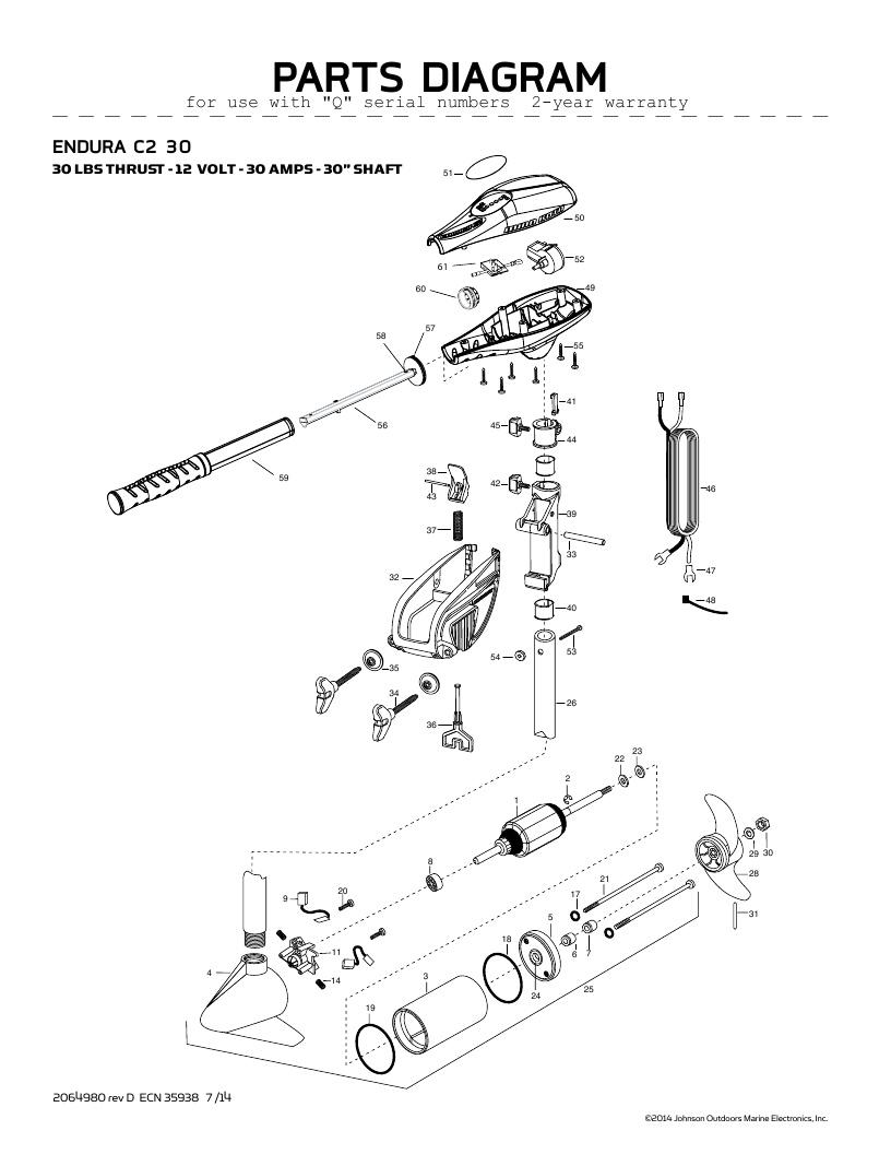 Minn Kota Endura C2 30-international Parts - 2016