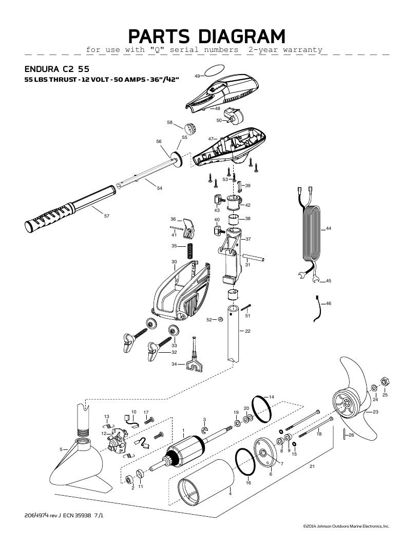 Minn Kota Endura C2 55 Parts-2016