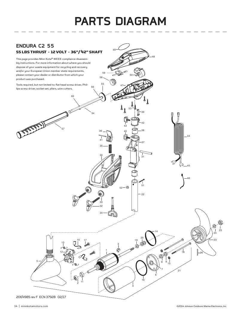 Minn Kota Endura C2 55-international Parts-2018