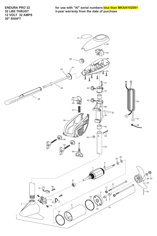 Minn Kota Endura Pro 32 Parts - 2008