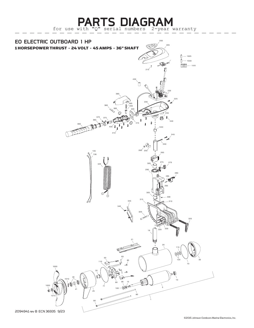 Minn Kota EO 24-volt Parts-2016