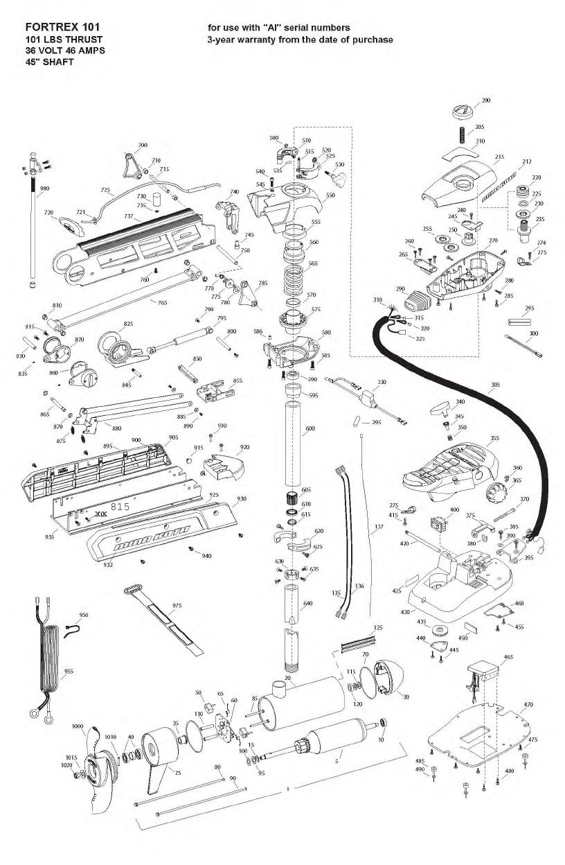 Minn Kota Fortrex 101 (45 Inch) Parts - 2008