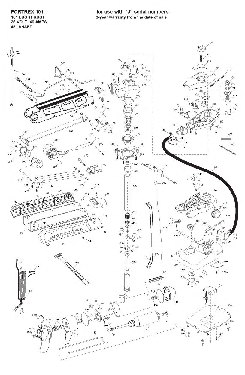 Minn Kota Fortrex 101 (45 Inch) Parts - 2009