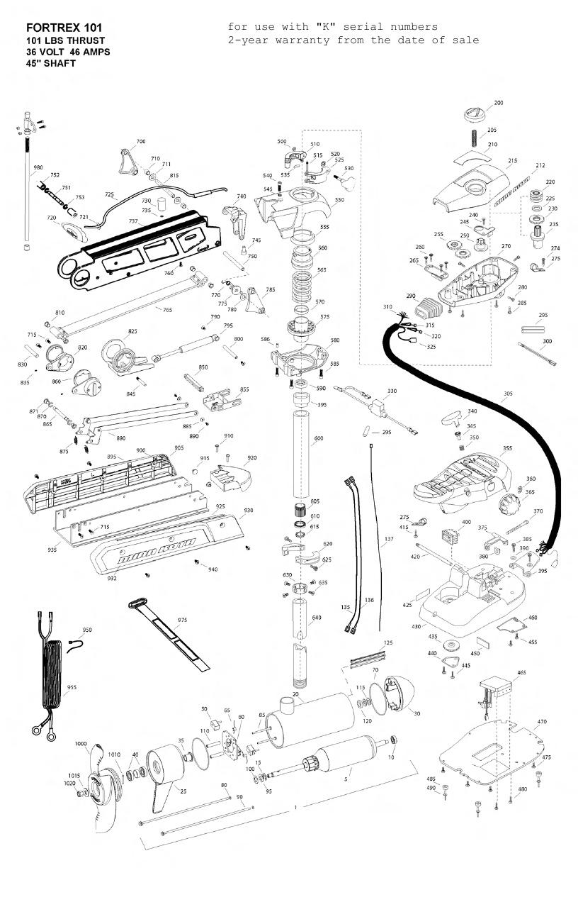 Minn Kota Fortrex 101 (45 Inch) Parts - 2010