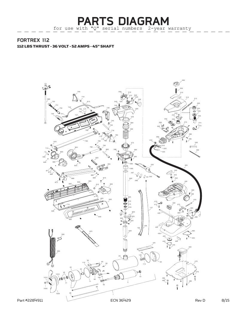 Minn Kota Fortrex 112-45 inch Parts-2016