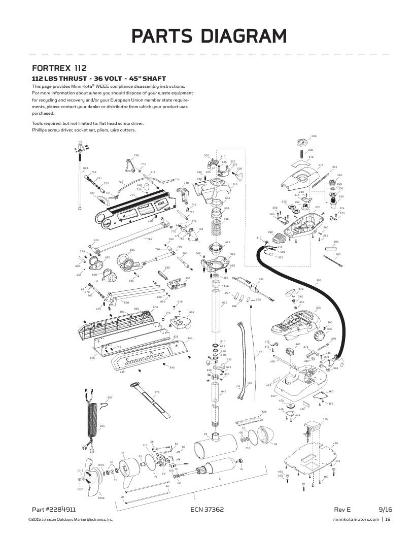 Minn Kota Fortrex 112-45 inch Parts-2017