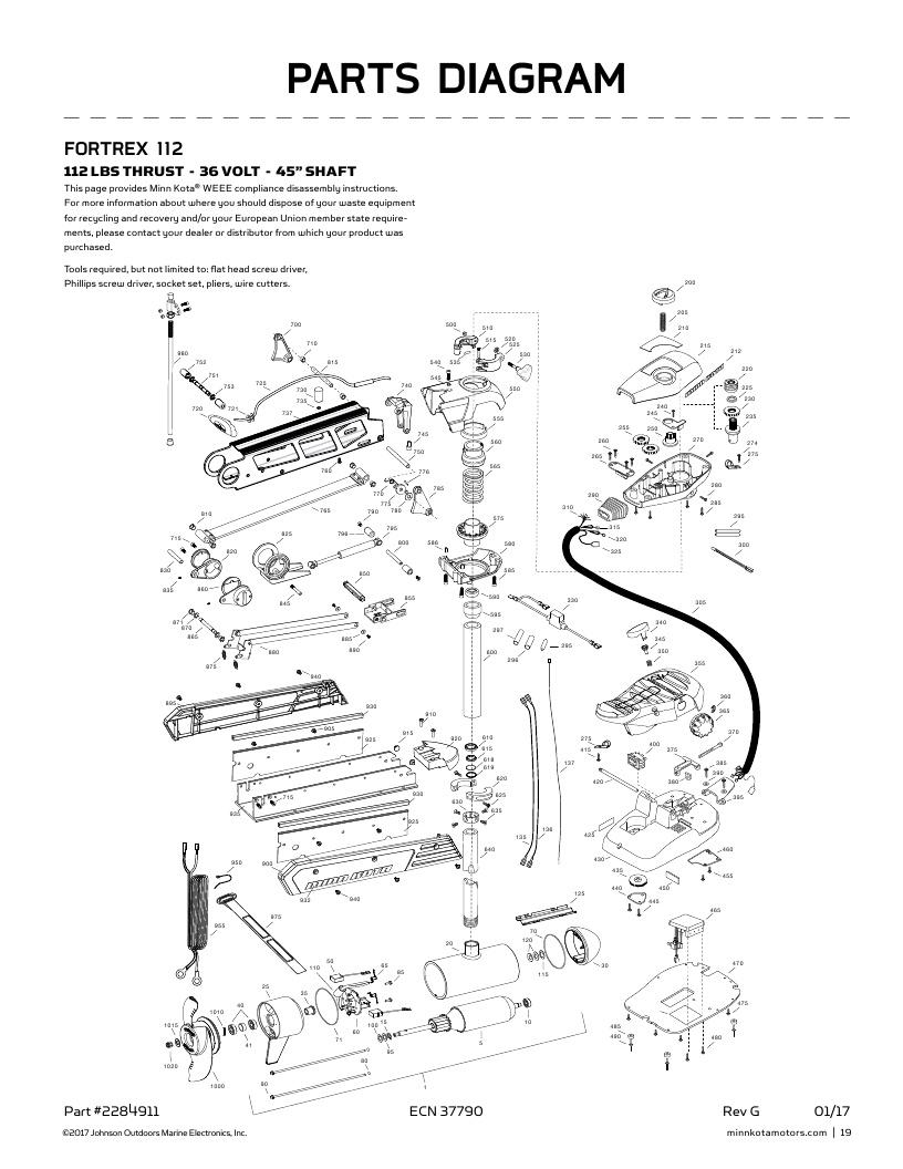 Minn Kota Fortrex 112-45 inch Parts-2018