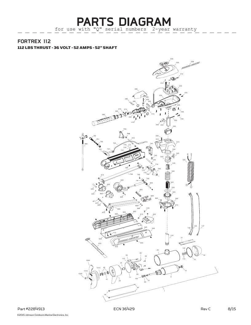 Minn Kota Fortrex 112 hand control Parts-2016