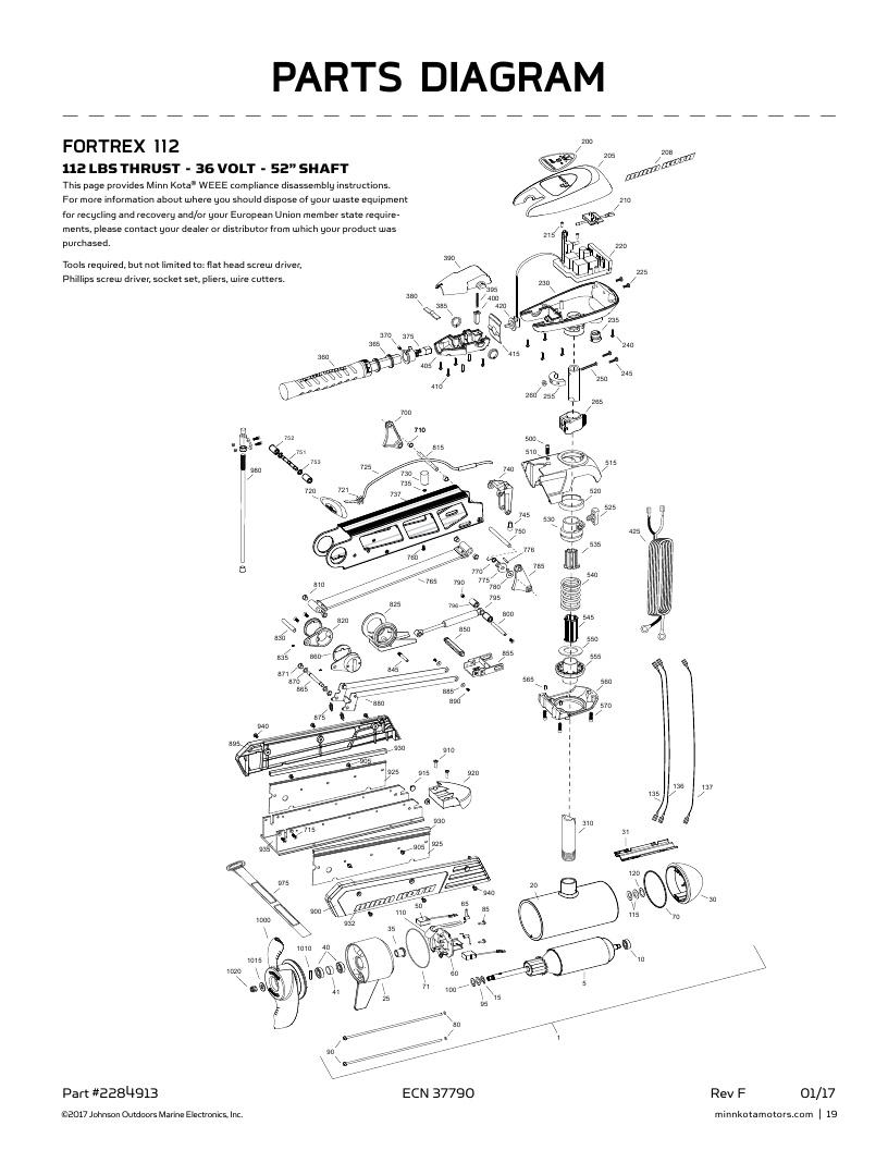 Minn Kota Fortrex 112 hand control Parts-2018