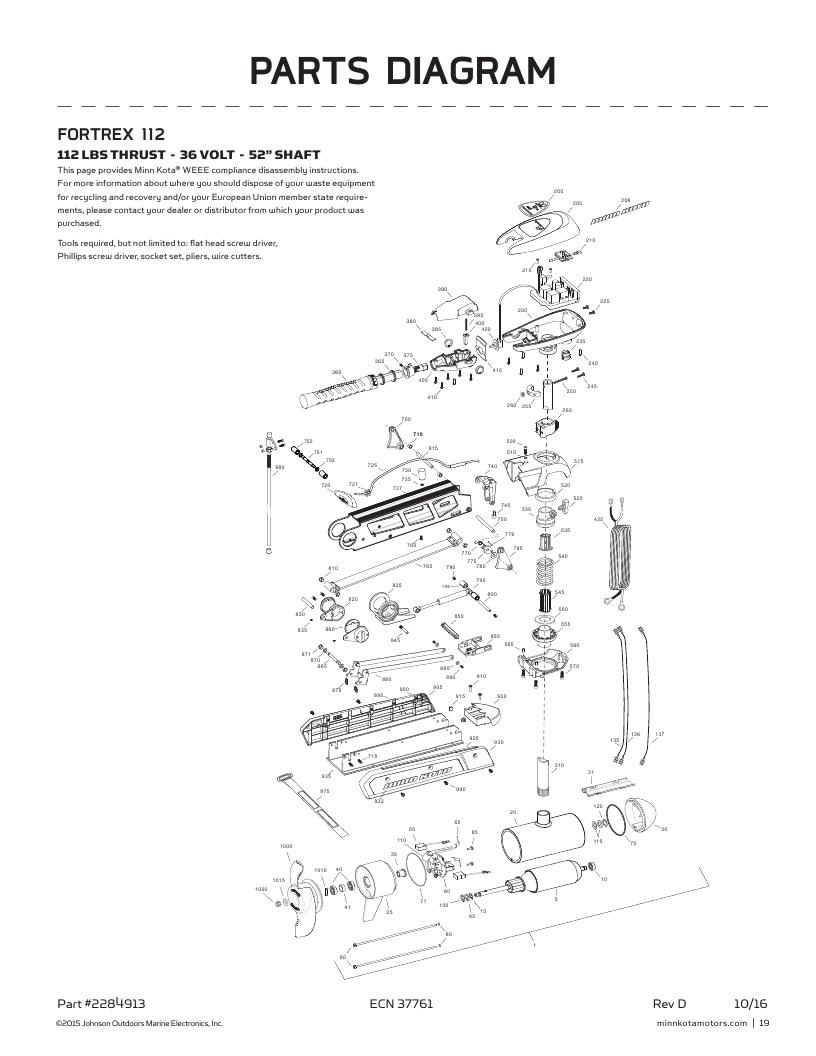 Minn Kota Fortrex 112 handcontrol Parts-2017
