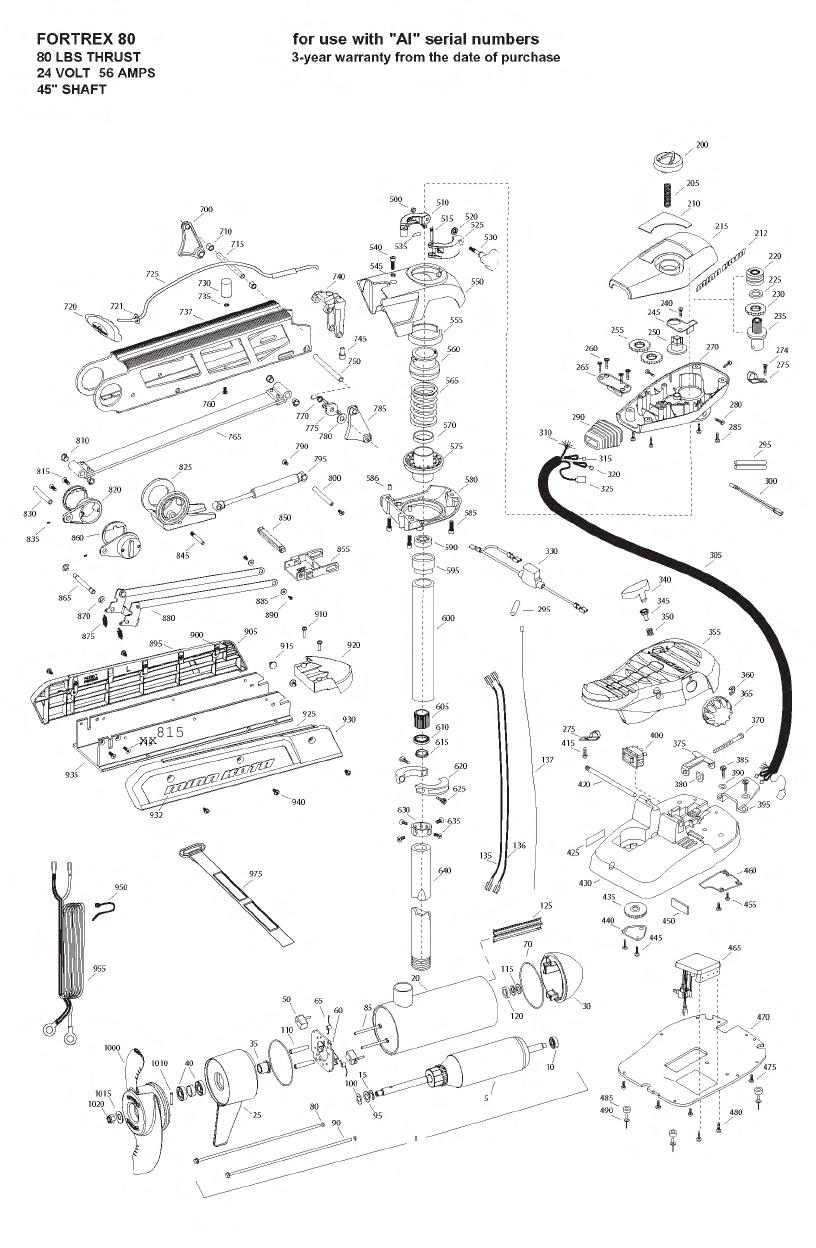 Minn Kota Fortrex 80 (45 Inch) Parts - 2008