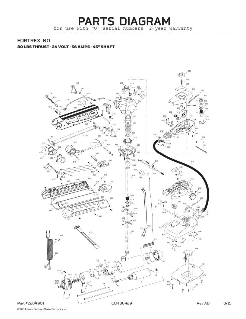 Minn Kota Fortrex 80-45 inch Parts-2016