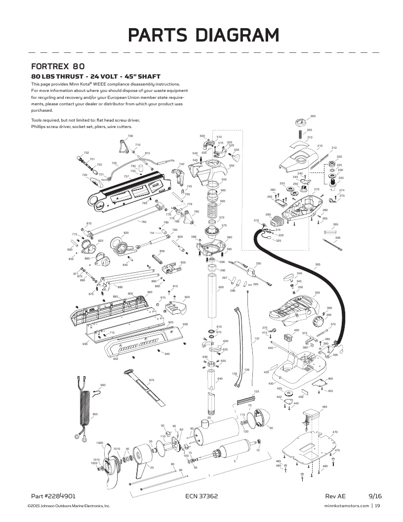 Minn Kota Endura 50 Parts Diagram