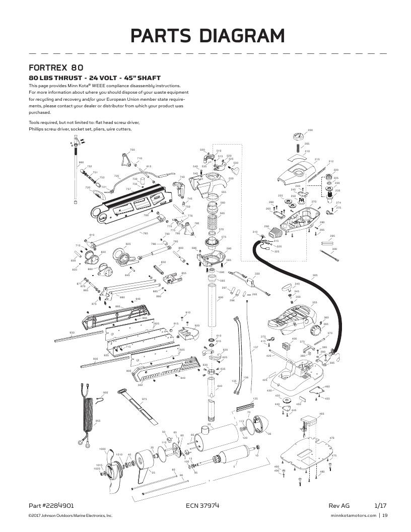 Minn Kota Fortrex 80-45 inch Parts-2018