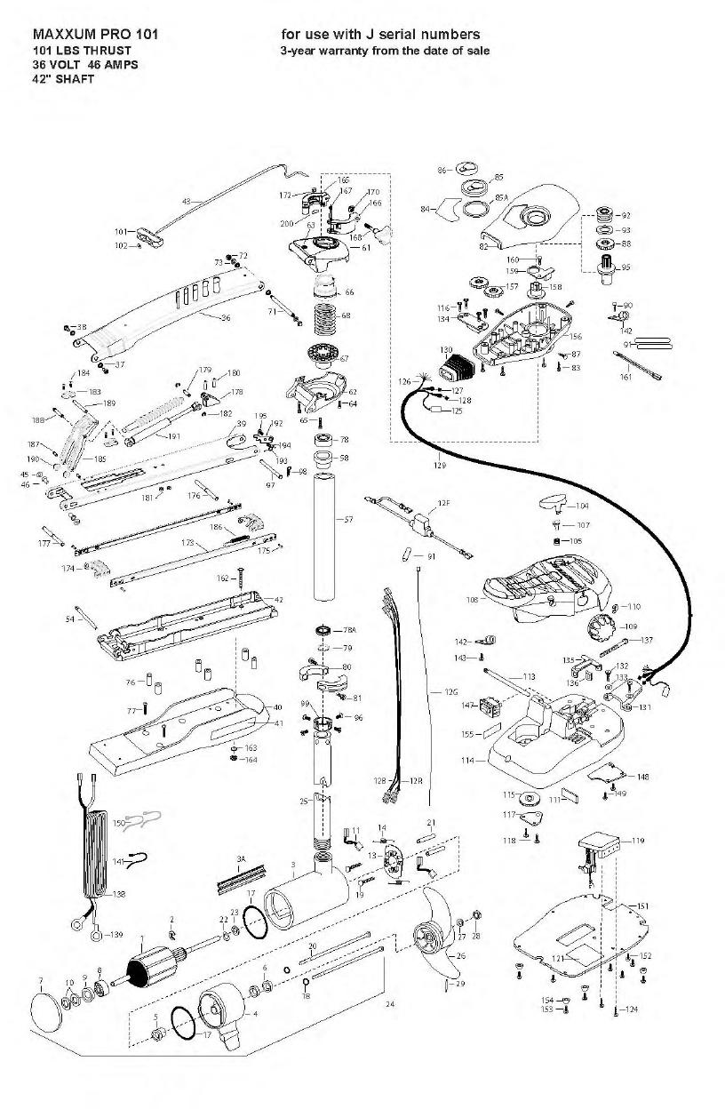 Minn Kota Max Pro 101 (42 Inch) Parts - 2009