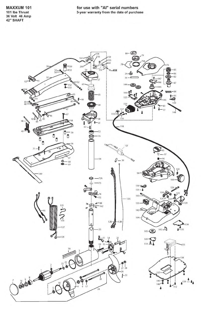 Minn Kota Max 101 (42 Inch) Parts - 2008