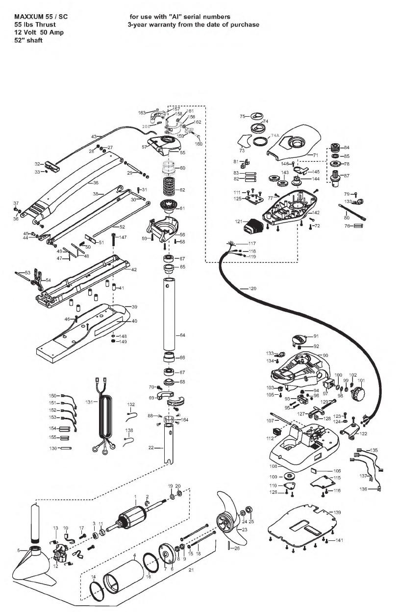 Minn Kota Max 55 SC (52 Inch) Parts - 2008
