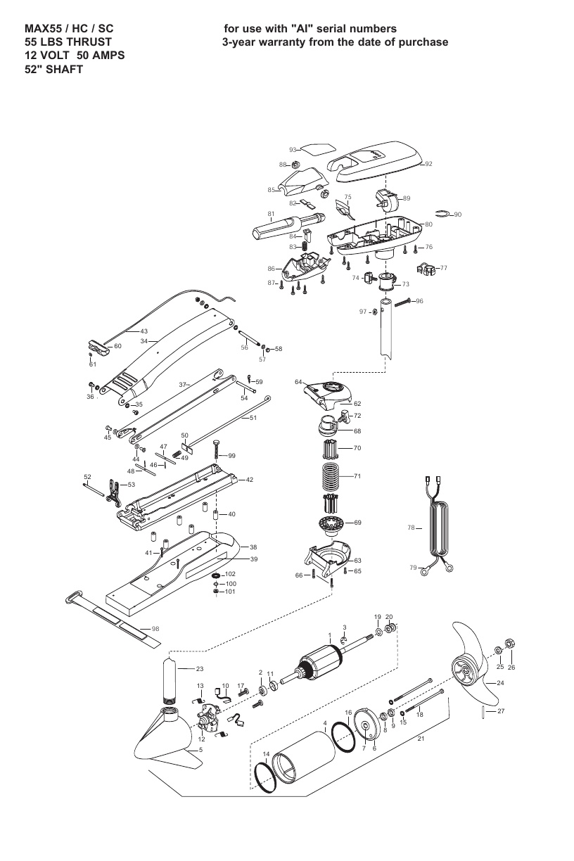 Minn Kota Max 55 SC Hand Control Parts - 2008