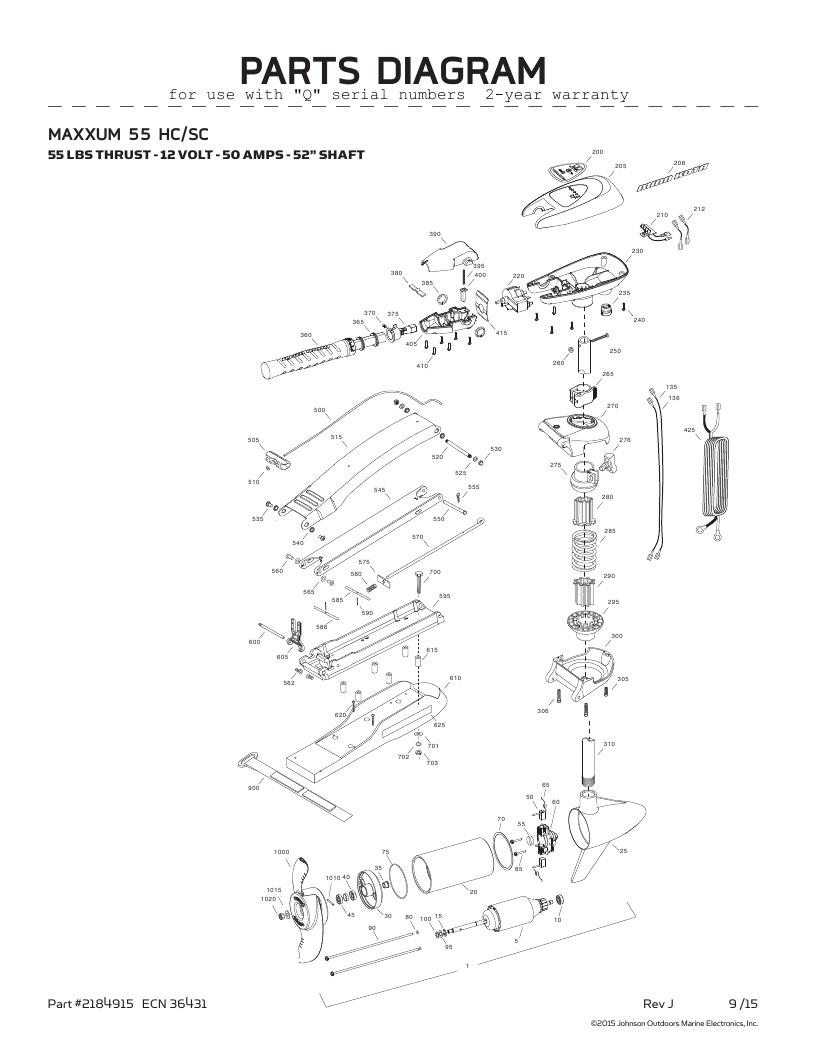 Minn Kota Maxxum 55 SC hand control Parts-2016