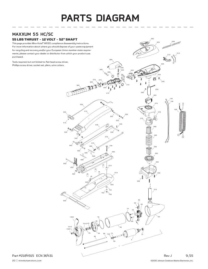 Minn Kota Maxxum 55 SC hand control Parts-2017