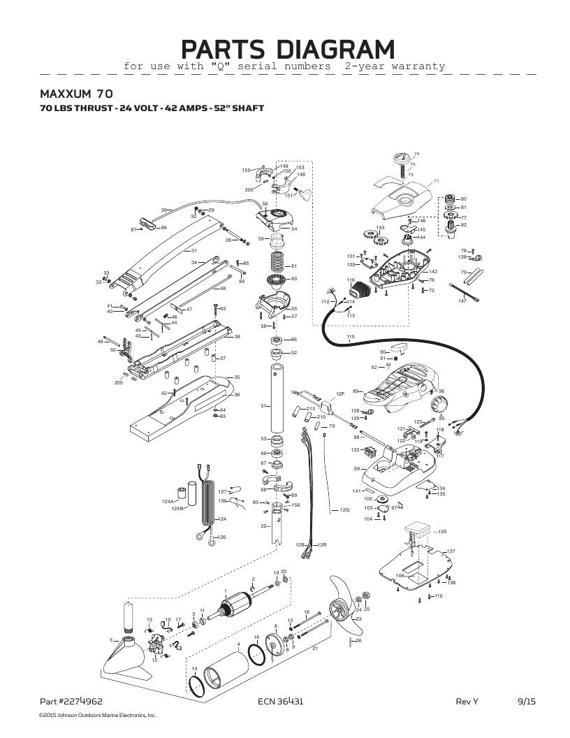 Minn Kota Maxxum 70-52 inch Parts-2016