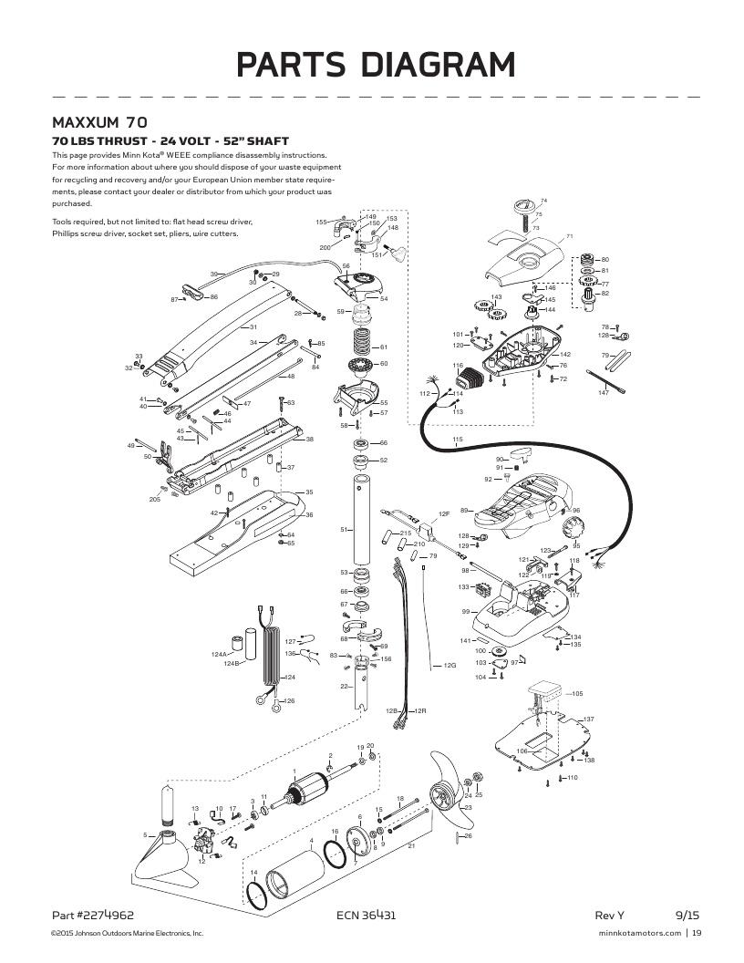 Minn Kota Maxxum 70-52 inch Parts-2017