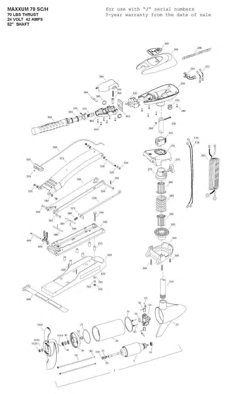 Minn Kota Max 70 SC Hand Control Parts - 2009