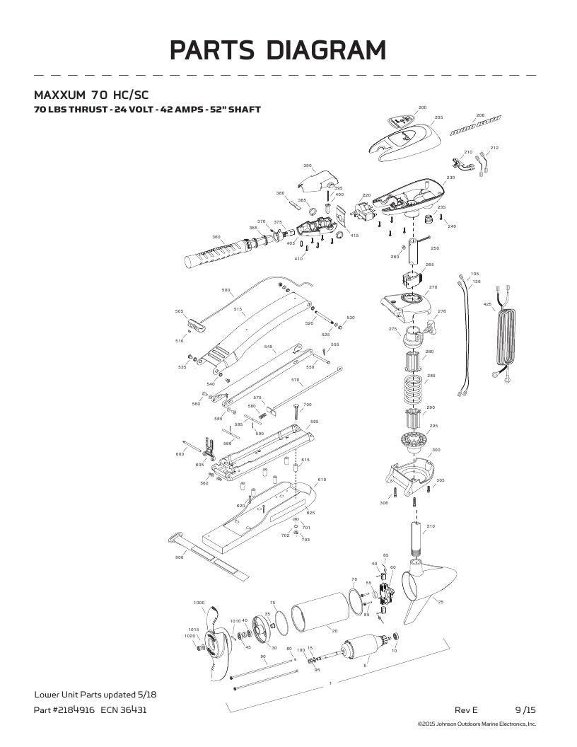 Minn Kota Maxxum 70 SC hand control Parts-2018