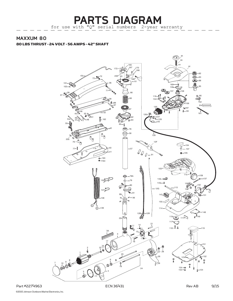 Minn Kota Maxxum 80-42 inch Parts-2016
