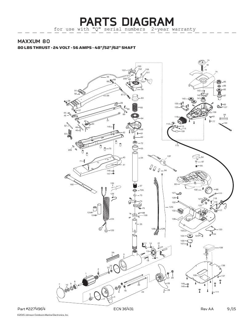 Minn Kota Maxxum 80-52 inch Parts-2016