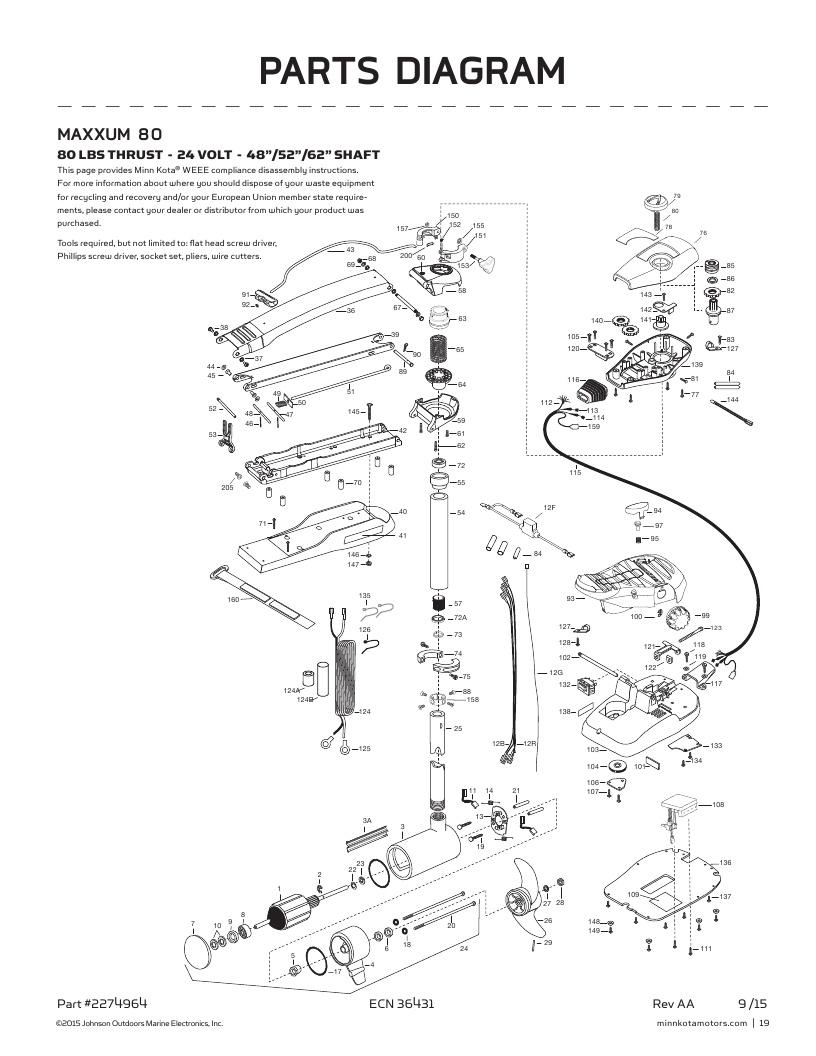 Minn Kota Maxxum 80-52 inch Parts-2017
