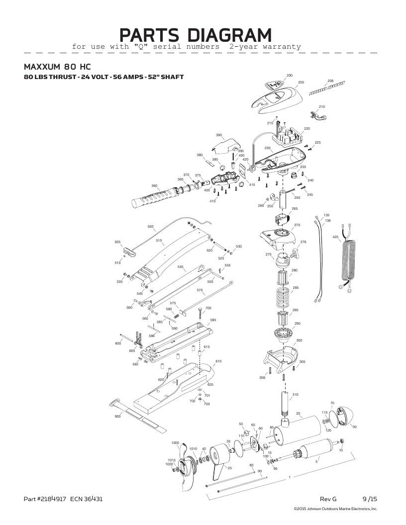 Minn Kota Maxxum 80 hand control Parts-2016