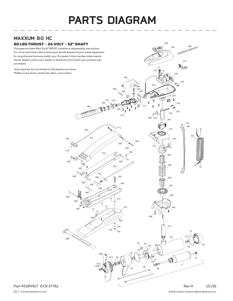 Minn Kota Maxxum 80 hand control Parts-2018
