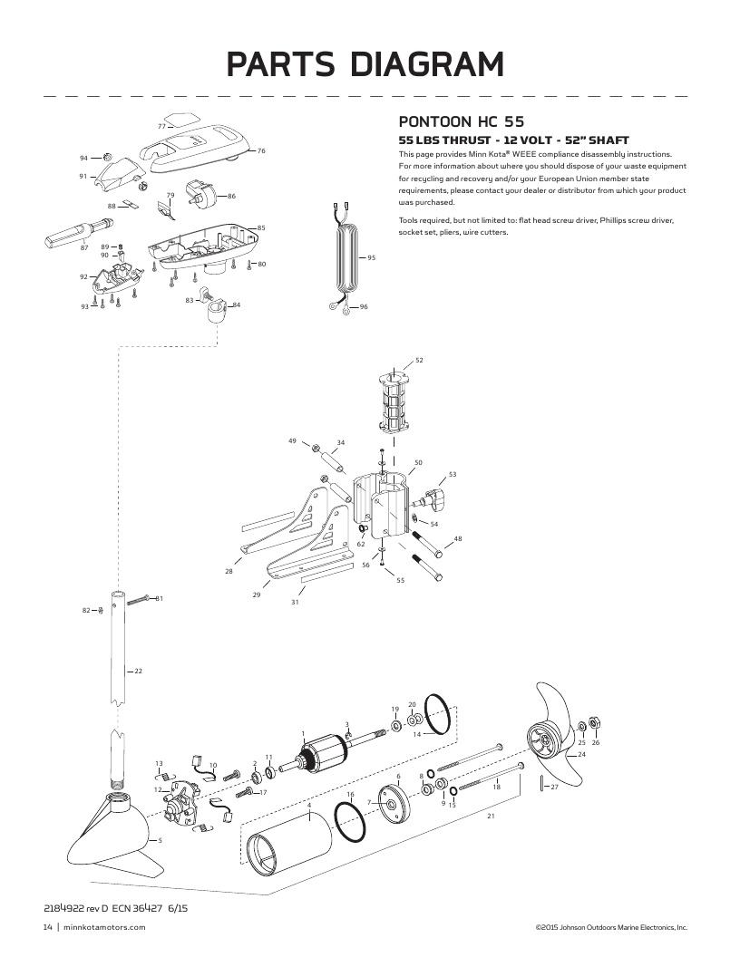 Minn Kota Pontoon 55 hand control Parts-2018