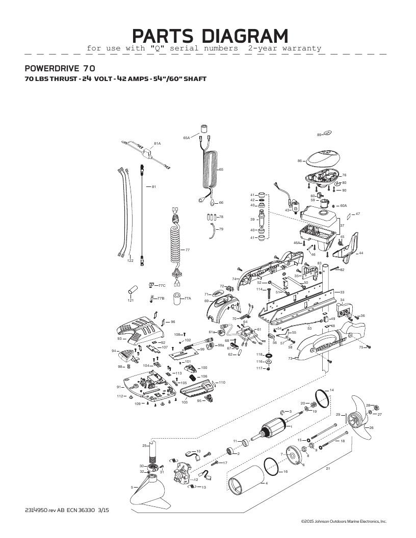 Minn Kota PowerDrive V2 70 Parts-2016