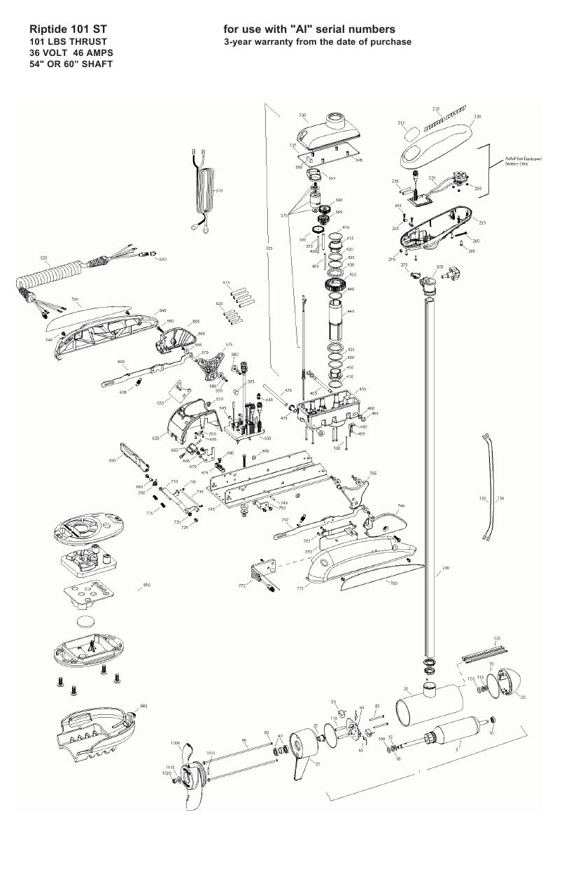 Minn Kota Riptide 101 ST Parts - 2008