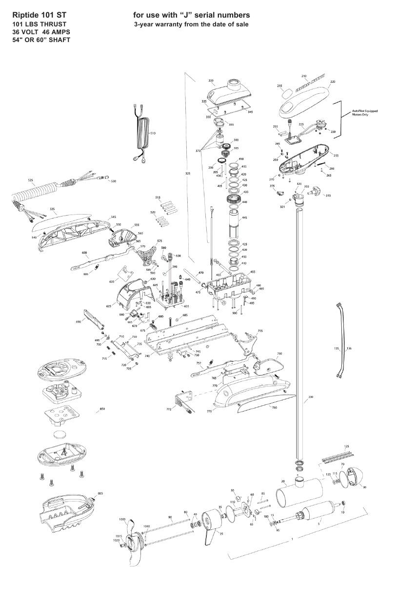 Minn Kota Riptide 101 ST Parts - 2009