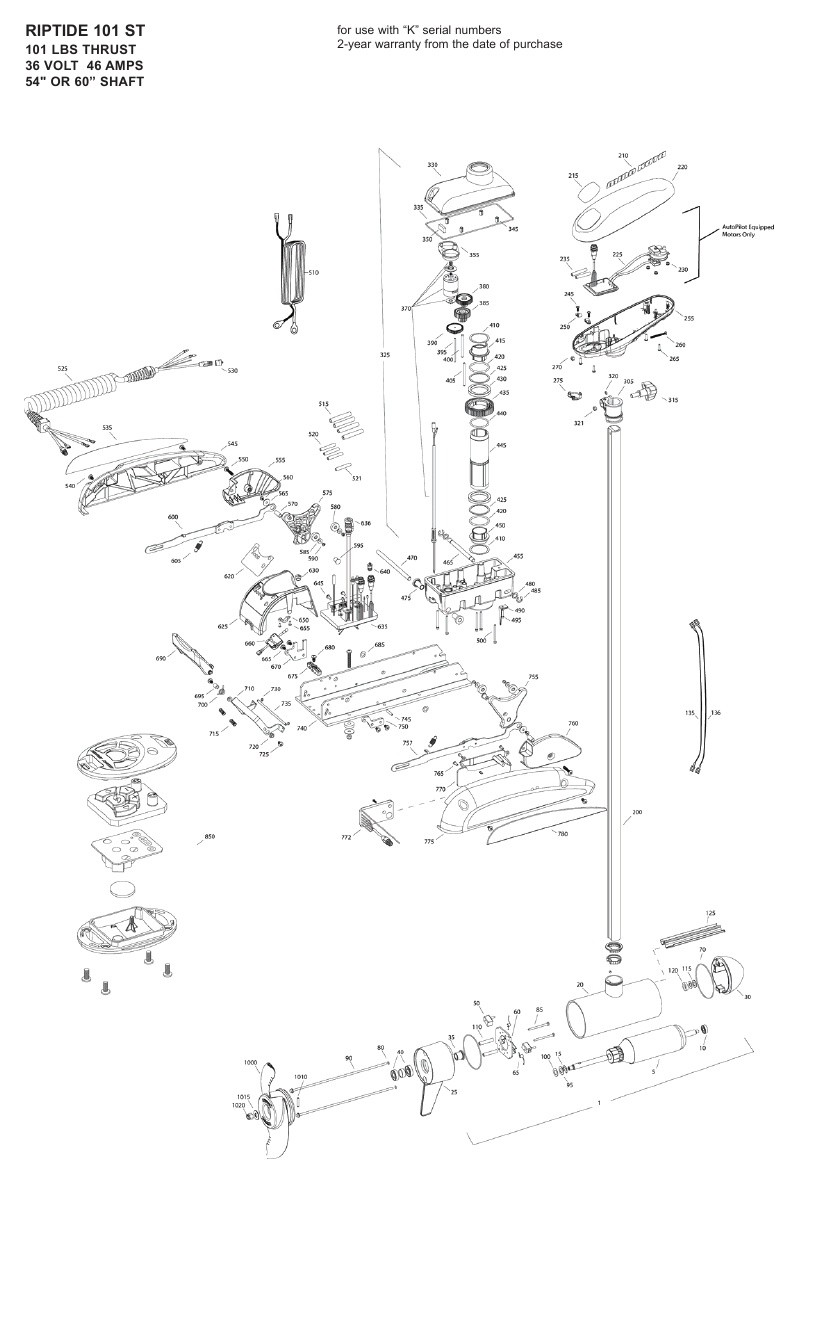 Minn Kota Riptide 101 ST Parts - 2010