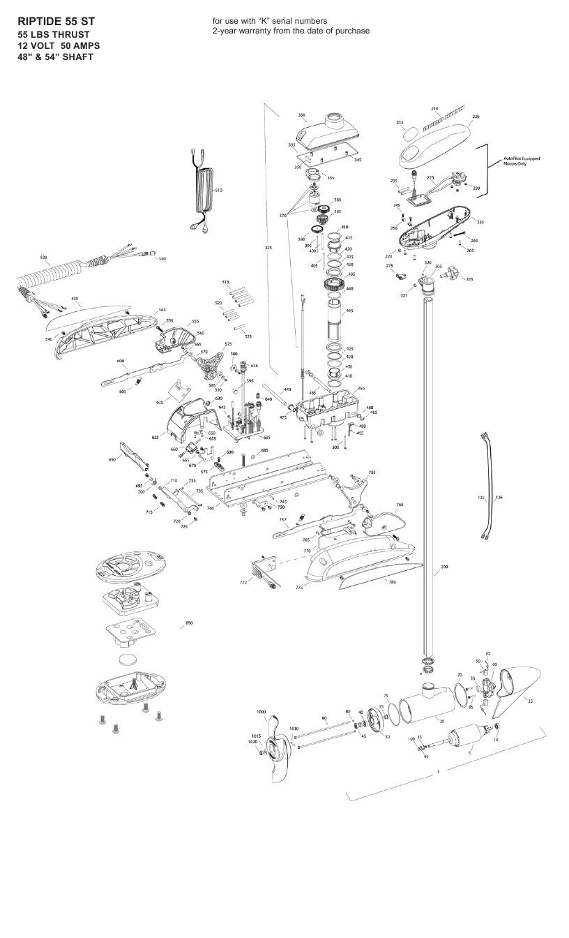 Minn Kota Riptide 55 ST Parts - 2010