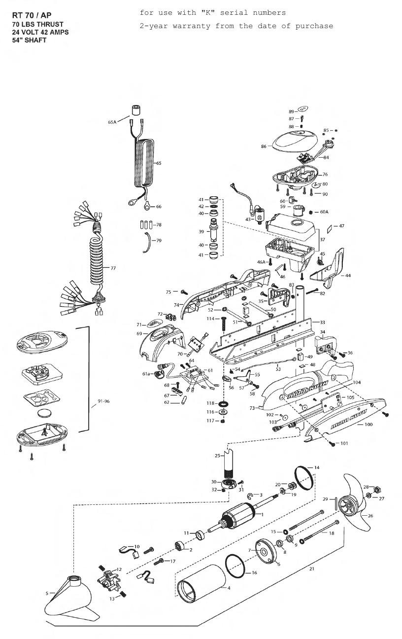 Minn Kota Riptide 70 SP AutoPilot Parts - 2010