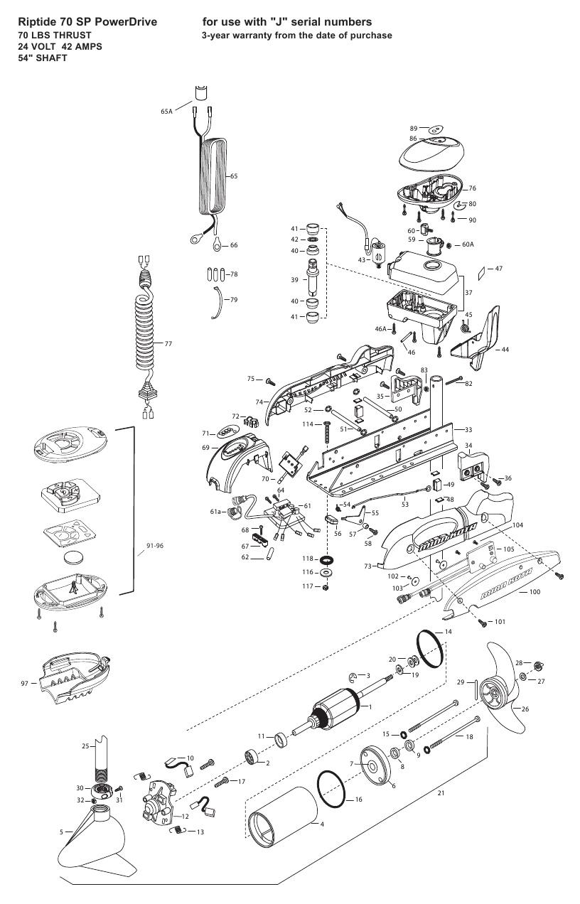 Minn Kota Riptide 70 SP PowerDrive Parts - 2009