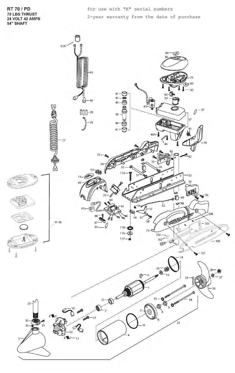 Minn Kota Riptide 70 SP PowerDrive Parts - 2010