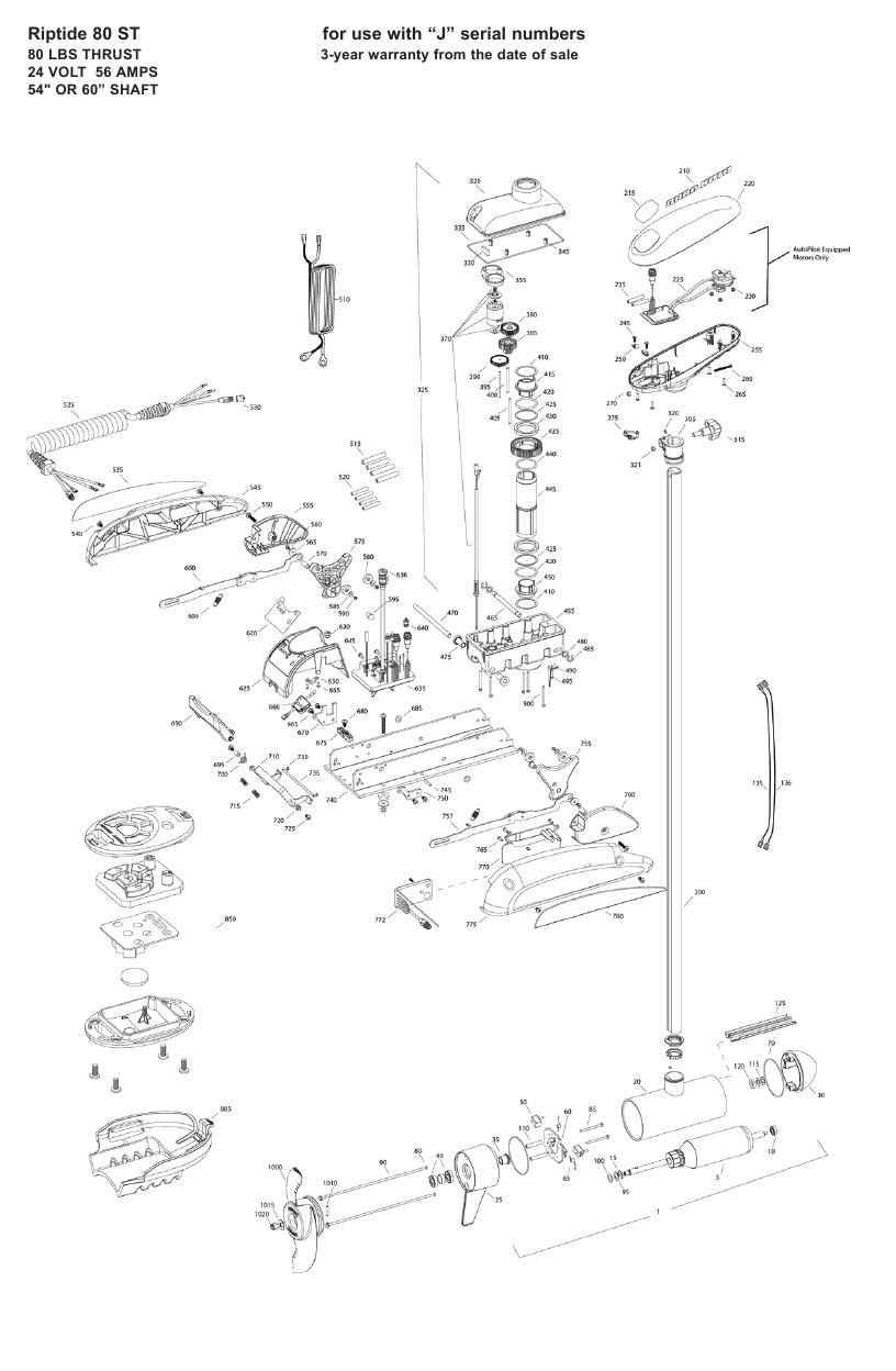 Minn Kota Riptide 80 ST Parts - 2009