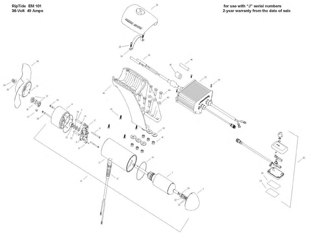 Minn Kota Engine Mount Riptide 101 Parts - 2009