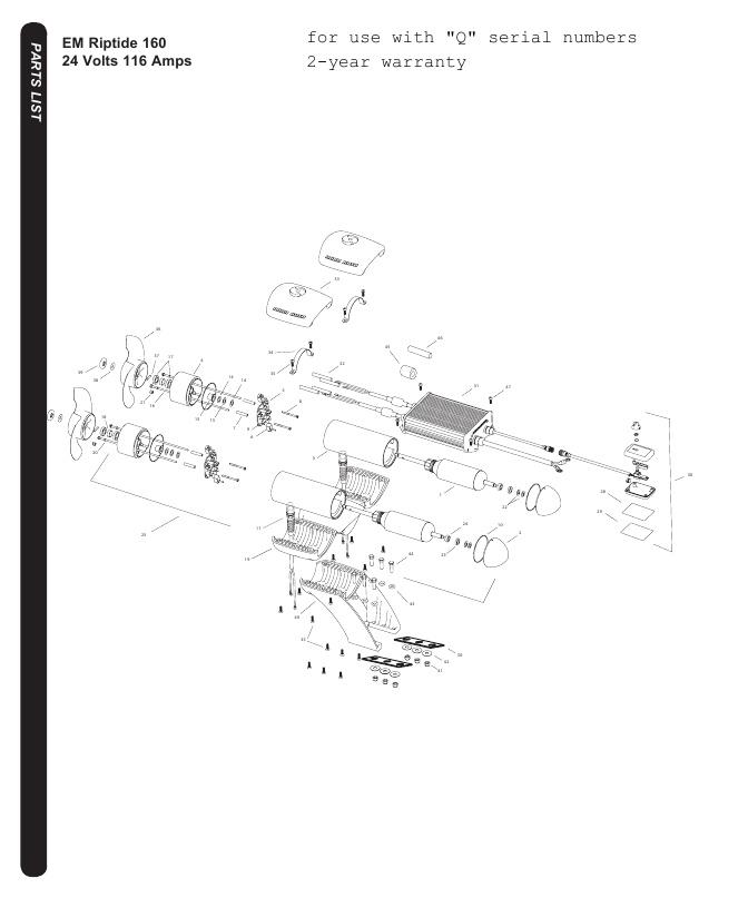 Minn Kota Riptide EM 160 Parts-2016