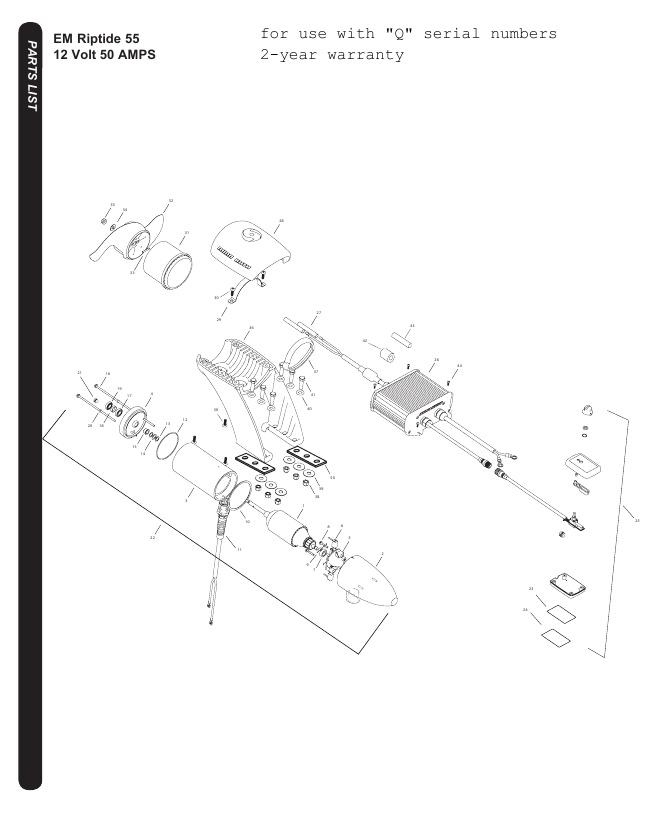 Minn Kota Riptide EM 55 Parts-2016
