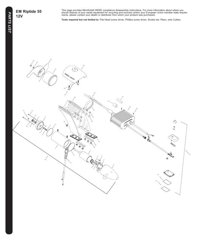 Minn Kota Riptide EM 55 Parts-2017