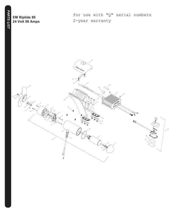 Minn Kota Riptide EM 80 Parts-2016