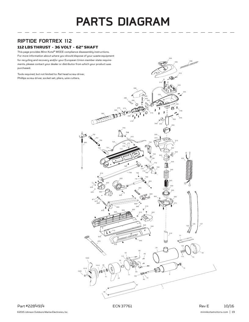 Minn Kota Riptide Fortrex 112 Parts-2017